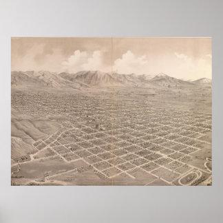 Vintage Pictorial Map of Salt Lake City (1875) Poster