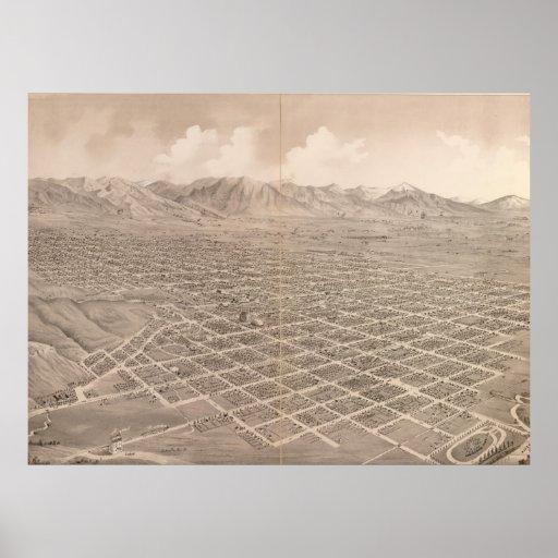 Vintage Pictorial Map of Salt Lake City (1875) Print