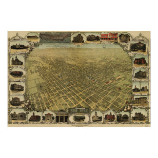 Vintage Pictorial Map of San Jose CA (1901) Poster