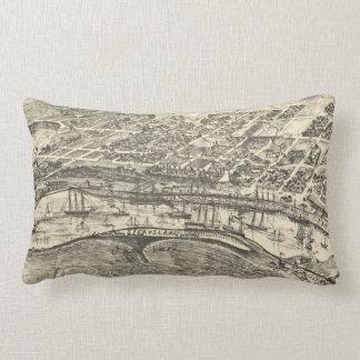 Vintage Pictorial Map of San Pedro (1902) Lumbar Cushion