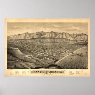 Vintage Pictorial Map of Santa Barbara CA (1877) Poster