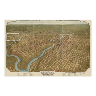 Vintage Pictorial Map of Spokane Washington (1905) Poster