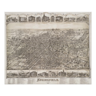 Vintage Pictorial Map of Springfield Ohio (1884) Poster