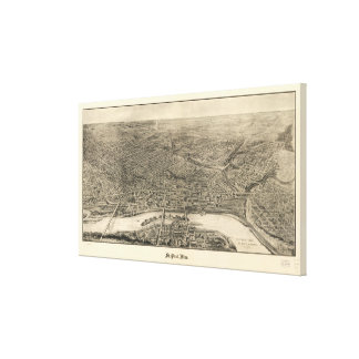 Vintage Pictorial Map of St. Paul Minnesota (1906) Canvas Print
