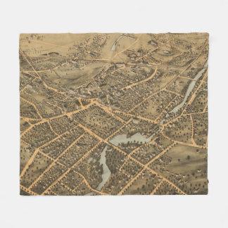 Vintage Pictorial Map of Stamford CT (1875) Fleece Blanket