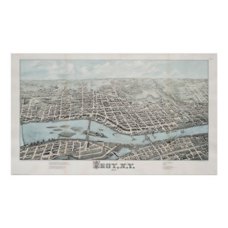 Vintage Pictorial Map of Troy New York (1877) Poster