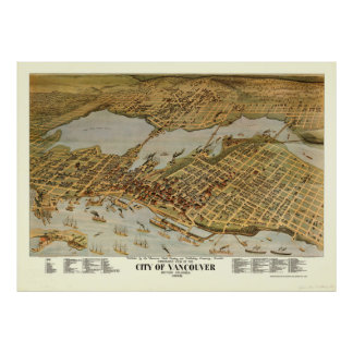 Vintage Pictorial Map of Vancouver BC (1898) Poster