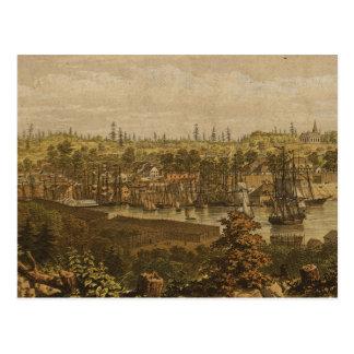 Vintage Pictorial Map of Victoria Vancouver (1860) Postcard
