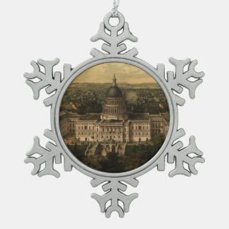 Vintage Pictorial Map of Washington D.C. (1857) Snowflake Pewter Christmas Ornament