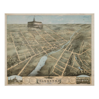 Vintage Pictorial Map of Waukesha Wisconsin (1874) Poster