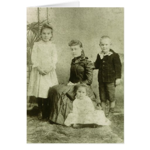 Vintage Picture of Four Siblings Greeting Card