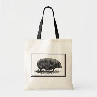Vintage pig etching tote bag