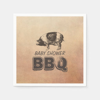 Vintage Pig Roast Baby Shower BBQ Disposable Napkin