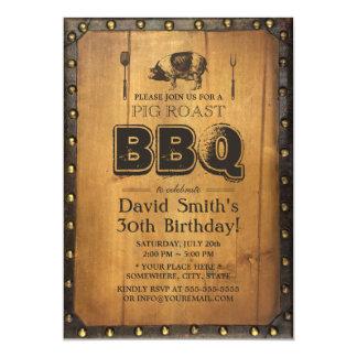 Vintage Pig Roast BBQ Dirty 30 Old Wood Birthday 13 Cm X 18 Cm Invitation Card