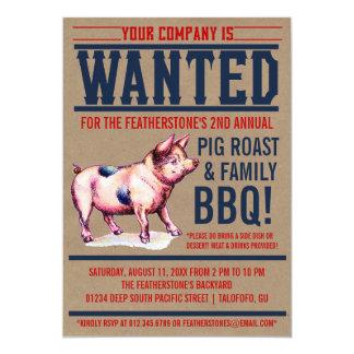 "Vintage Pig Roast Family BBQ Invitations 5"" X 7"" Invitation Card"