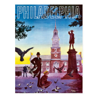 Vintage Pigeons in Philadelphia Travel Postcard