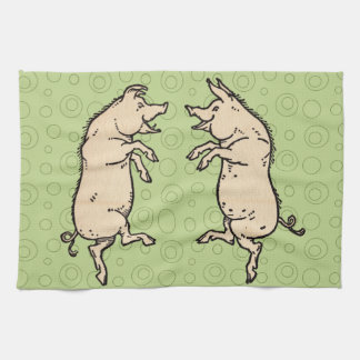 Vintage Pigs Dancing Tea Towel