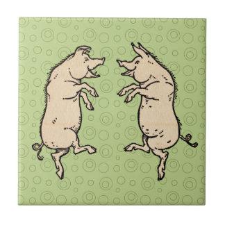 Vintage Pigs Dancing Tile