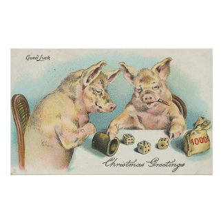 Vintage Pigs Playing Dice Poster