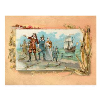Vintage Pilgrims Landing at Plymouth Rock Postcard