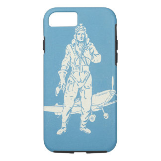 Vintage Pilot and Aeroplane Art iPhone 7 Case
