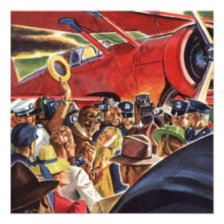Vintage Pilot Woman and Airplane with Paparazzi Personalized Announcement