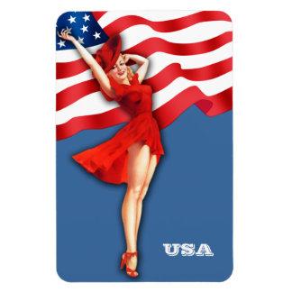 Vintage Pin-Up  Art . US Patriotic Gift Magnet