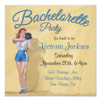 Vintage Pin up Bowling Bachelorette Party Custom Invitations