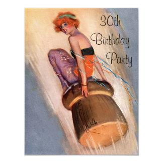 Vintage Pin Up Girl & Champagne Cork 30th Birthday 11 Cm X 14 Cm Invitation Card