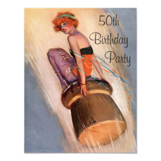 Vintage Pin Up Girl & Champagne Cork 50th Birthday 11 Cm X 14 Cm Invitation Card