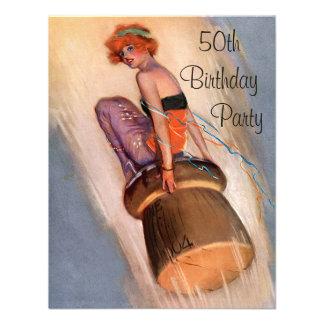 Vintage Pin Up Girl & Champagne Cork 50th Birthday Invite