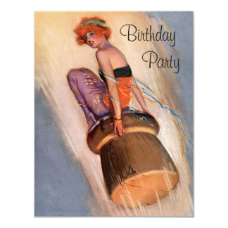 Vintage Pin Up Girl & Champagne Cork Birthday Card