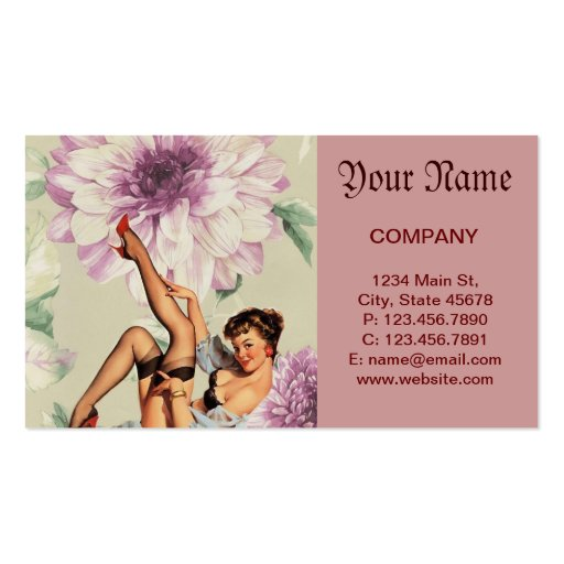 vintage pin up girl floral business cards