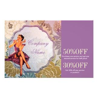 vintage pin up girl makeup artist 14 cm x 21.5 cm flyer