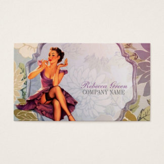 vintage pin up girl makeup artist business card