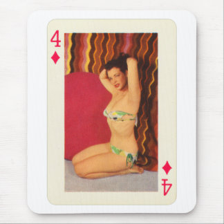 Vintage Pin Up Girl Playing Card Four of Diamonds Mouse Pad