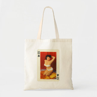 Vintage Pin Up Girl Playing Card Ten of Clubs Tote Bag