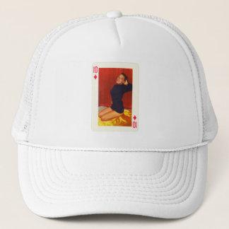 Vintage Pin Up Girl Playing Card Ten of Diamonds Trucker Hat