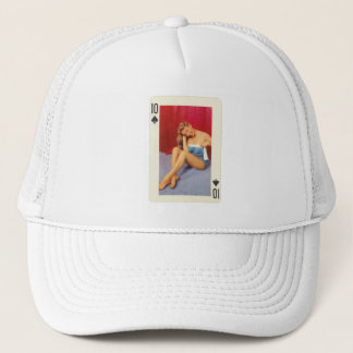 Vintage Pin Up Girl Playing Card Ten of Spades Trucker Hat