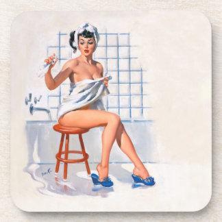 Vintage Pin Up girls, bath time, ballatyne coaster