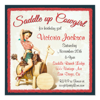 Vintage Pin up Rockabilly Cowgirl Birthday Party 13 Cm X 13 Cm Square Invitation Card