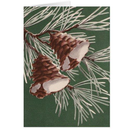 Vintage Pine Cone Christmas Bells Card