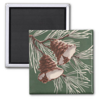 Vintage Pine Cone Christmas Magnet