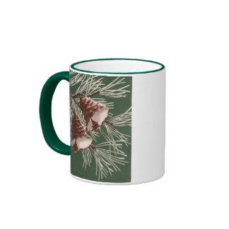 Vintage Pine Cone Christmas Mug