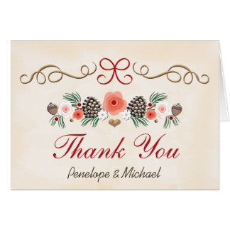 Vintage Pine Cone Christmas Wedding Thank You Note Card