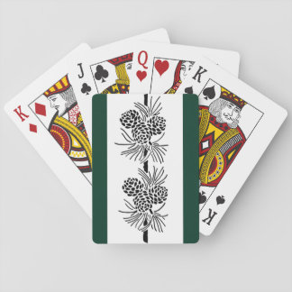 Vintage Pine Cone Silhouette Dark Green Playing Cards