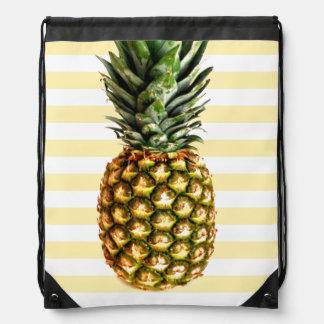 Vintage pineapple art image drawstring bag