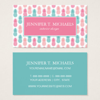 Vintage Pineapple Pattern | Monogram Business Card