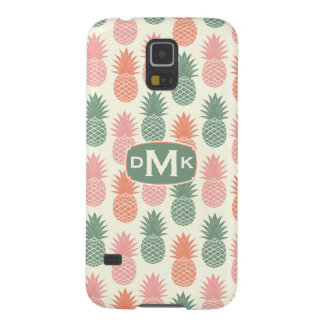 Vintage Pineapple Pattern   Monogram Galaxy S5 Covers