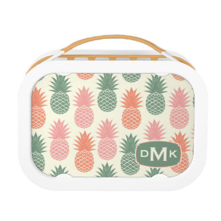 Vintage Pineapple Pattern | Monogram Lunch Box